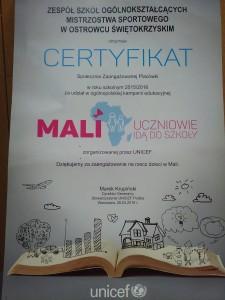2016. CERTYFIKAT - MALI